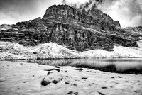 Pinnacle Mountain from Upper Minnestima Lake Black & White, Larch Valley, Banff National Park, Alberta