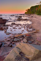 Lake Superior Shore at Sunset, Porcupine Mountains State Park, Michigan