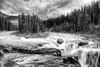 Upper Sunwapta Falls Black & White, Jasper National Park, Alberta