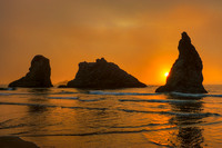 Seastacks and Surf at Sunset, Face Rock State Scenic Viewpoint, Oregon