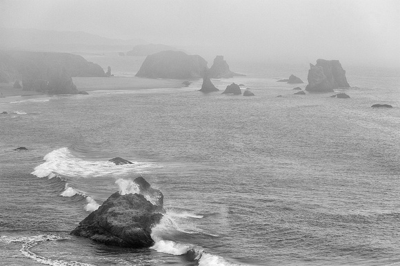 Seastacks and Surf Black & White, Coquille Point, Oregon Islands National Wildlife Refuge, Oregon