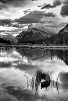 Mt. Rundle at Sunset from the Third Vermillion Lake Black & White, Banff National Park, Alberta