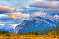 Mt. Rundle at Sunset from the Third Vermillion Lake, Banff National Park, Alberta