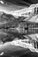 Crowfoot Glacier and Bow Lake Black & White, Banff National Park, Alberta