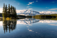 Mt. Rundle from Two Jack Lake, Lake Minnewanka Scenic Drive, Banff National Park, Alberta