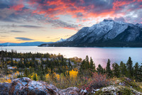 Mt. Michener & Abraham Lake at Dawn, David Thompson Country, Alberta