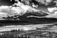 North Saskatchewan River from Saskatachewan Crossing Viewpoint Black & White, Banff National Park, Alberta