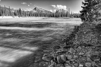 Athabasca River View Black & White, Jasper National Park, Alberta