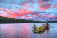 Two Jack Lake Sunrise, Lake Minnewanka Scenic Drive, Banff National Park, Alberta