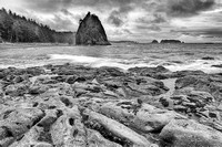 Rialto Beach Tide Pools and Surf Black & White, Olympic National Park, Washington