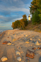 Au Sable Point Lighthouse from Au Sable Beach, Pictured Rocks National Lakeshore, Michigan