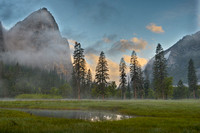 Misty El Capitan Meadow at Sunrise, Yosemite National Park, California