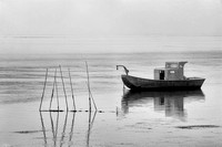 Fishing Boat and Pilings in Morning Fog Black & White, Tillamook Bay, Oregon