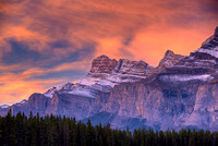 Mt. Rundle at Sunrise, Lake Minnewanka Scenic Drive, Banff National Park, Alberta