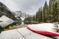 Snowy Canoe Dock, Moraine Lake, Banff National Park, Alberta
