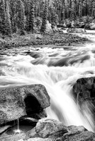 Lower Sunwapta Falls Black & White, Jasper National Park, Alberta