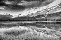 Mt. Stelfox at Sunrise from White Goat Lakes Black & White, David Thompson Country, Alberta