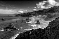 China Creek Beach from North Island Viewpoint Black & White, Samuel H. Boardman State Park, Oregon
